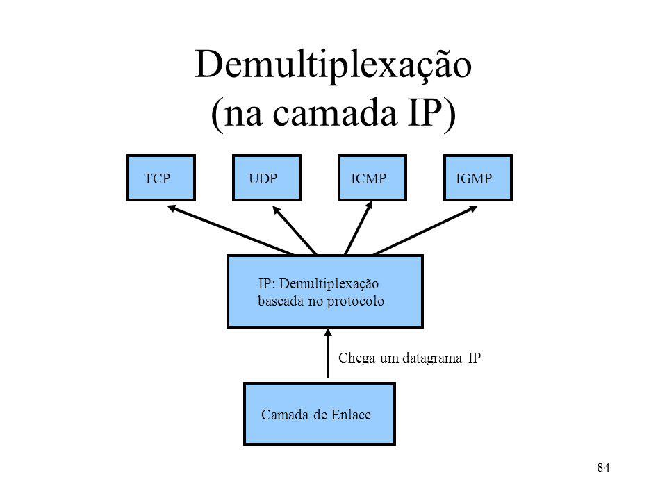 84 Demultiplexação (na camada IP) IP: Demultiplexação baseada no protocolo Camada de Enlace Chega um datagrama IP TCPUDPICMPIGMP