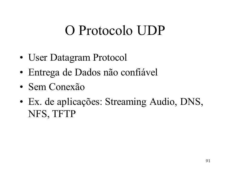 91 O Protocolo UDP User Datagram Protocol Entrega de Dados não confiável Sem Conexão Ex. de aplicações: Streaming Audio, DNS, NFS, TFTP