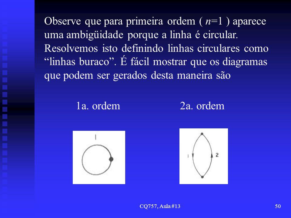 CQ757, Aula #1350 Observe que para primeira ordem ( n=1 ) aparece uma ambigüidade porque a linha é circular. Resolvemos isto definindo linhas circular