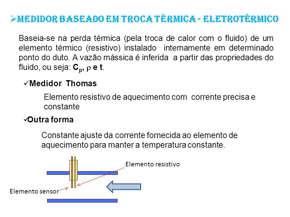 Medidor baseado em troca térmica - eletrotérmico Baseia-se na perda térmica (pela troca de calor com o fluido) de um elemento térmico (resistivo) inst