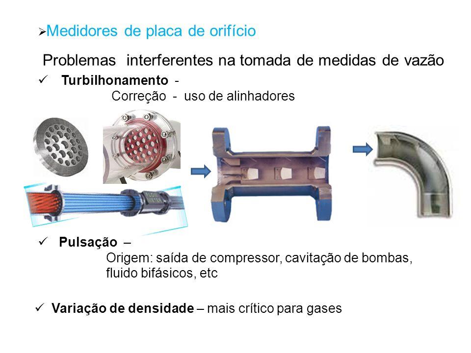 Medidores de placa de orifício Problemas interferentes na tomada de medidas de vazão Turbilhonamento - Correção - uso de alinhadores Variação de densi