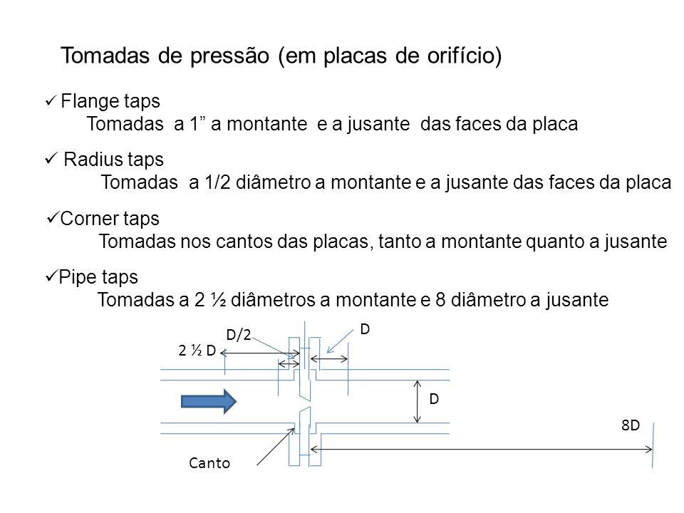 Tomadas de pressão (em placas de orifício) Flange taps Tomadas a 1 a montante e a jusante das faces da placa Radius taps Tomadas a 1/2 diâmetro a mont