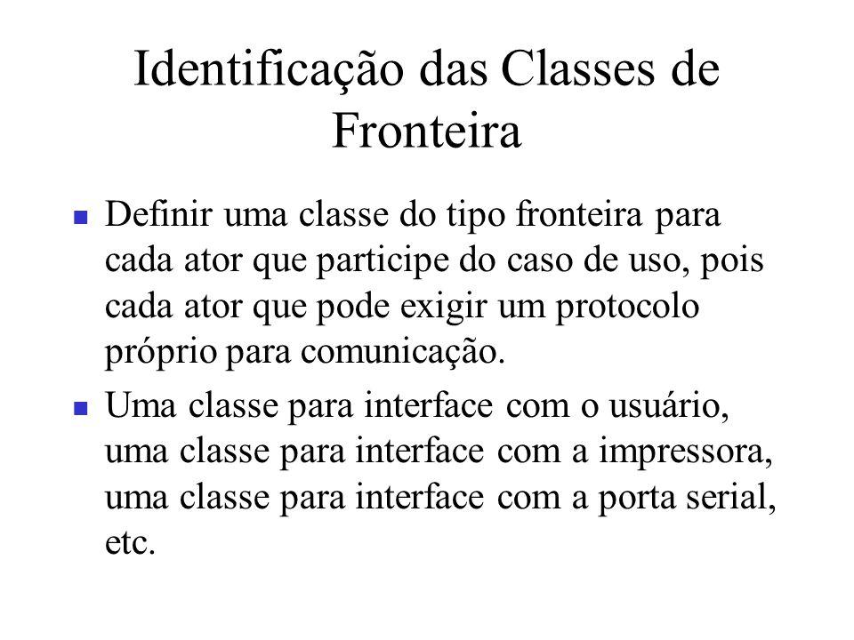 Identificação das Classes de Fronteira Definir uma classe do tipo fronteira para cada ator que participe do caso de uso, pois cada ator que pode exigi