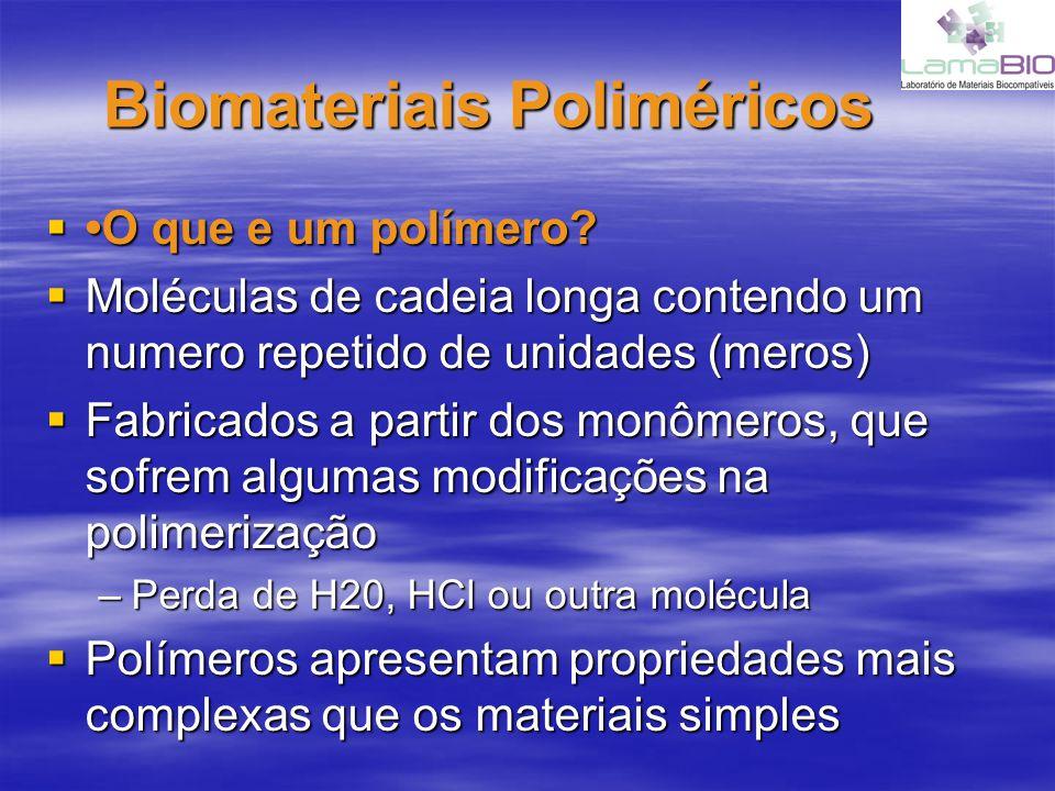 Biomateriais Poliméricos O que e um polímero? O que e um polímero? Moléculas de cadeia longa contendo um numero repetido de unidades (meros) Moléculas