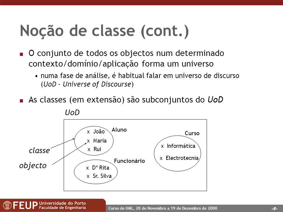 10 Curso de UML, 20 de Novembro a 19 de Dezembro de 2000 Noção de classe (cont.) n O conjunto de todos os objectos num determinado contexto/domínio/ap