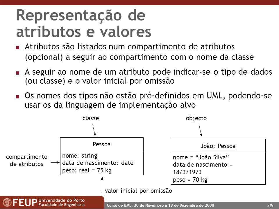 13 Curso de UML, 20 de Novembro a 19 de Dezembro de 2000 Representação de atributos e valores n Atributos são listados num compartimento de atributos