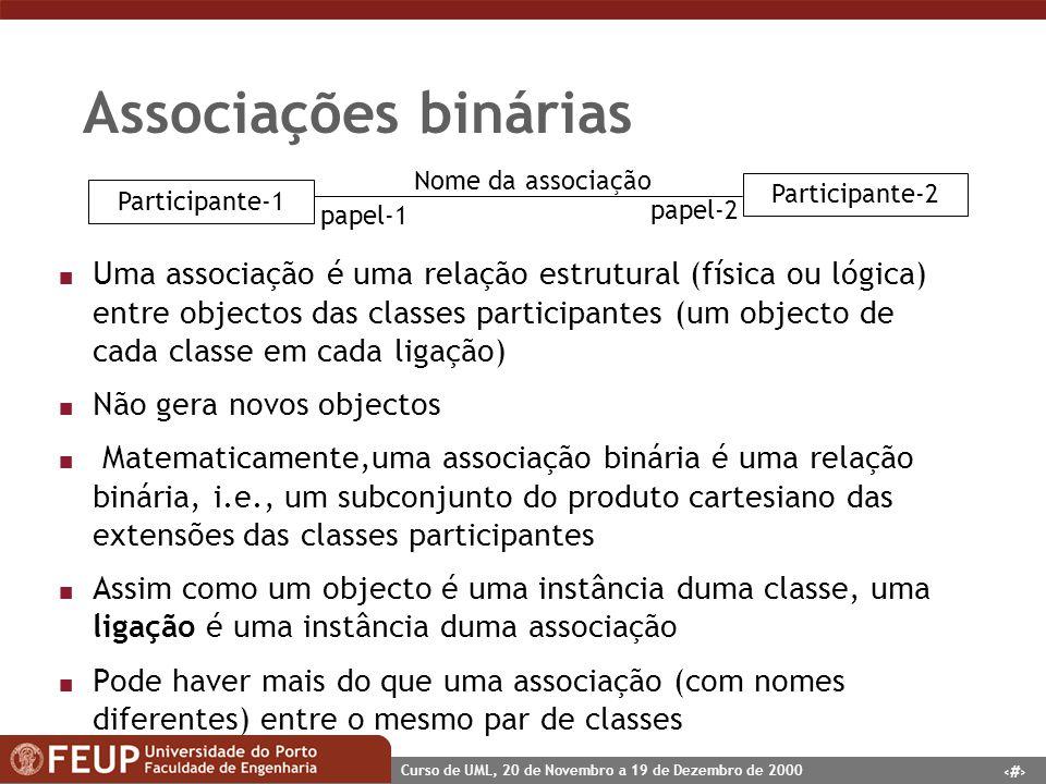 15 Curso de UML, 20 de Novembro a 19 de Dezembro de 2000 Associações binárias Participante-1 Participante-2 Nome da associação papel-1 papel-2 n Uma a