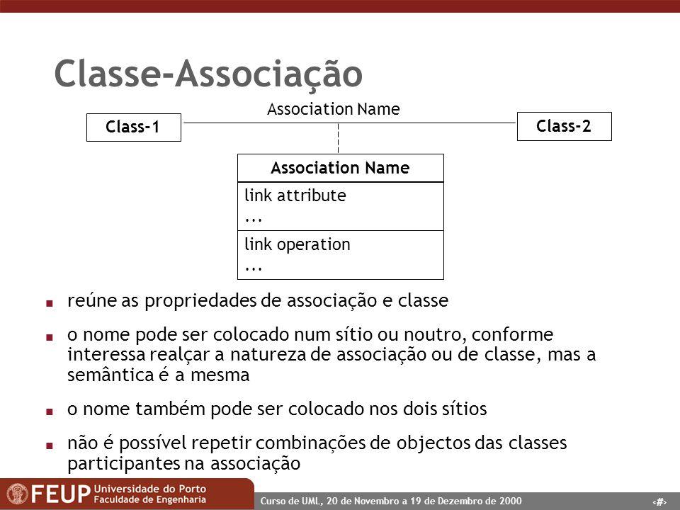 19 Curso de UML, 20 de Novembro a 19 de Dezembro de 2000 Classe-Associação n reúne as propriedades de associação e classe n o nome pode ser colocado n