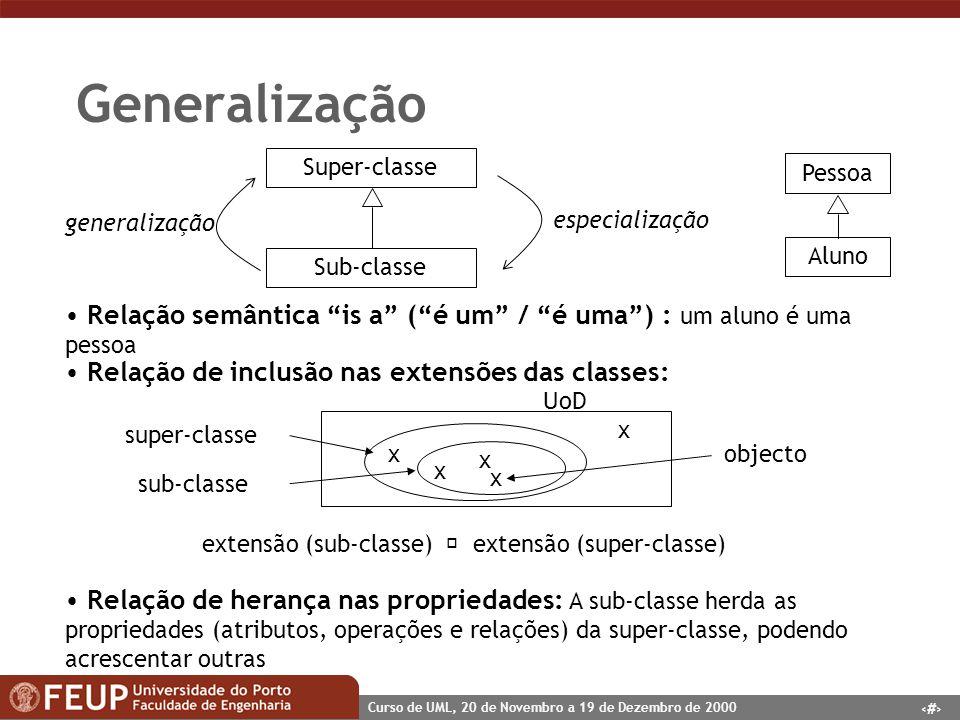 24 Curso de UML, 20 de Novembro a 19 de Dezembro de 2000 Generalização Relação semântica is a (é um / é uma) : um aluno é uma pessoa Relação de inclus