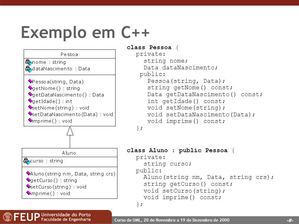 25 Curso de UML, 20 de Novembro a 19 de Dezembro de 2000 Exemplo em C++ class Pessoa { private: string nome; Data dataNascimento; public: Pessoa(strin