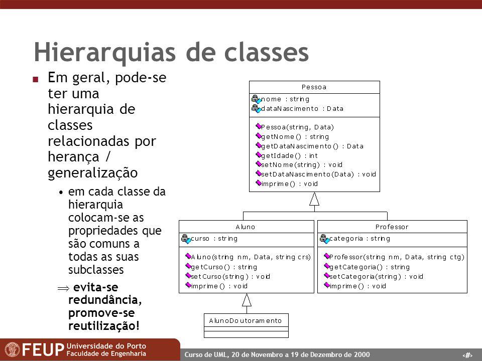 26 Curso de UML, 20 de Novembro a 19 de Dezembro de 2000 Hierarquias de classes n Em geral, pode-se ter uma hierarquia de classes relacionadas por her