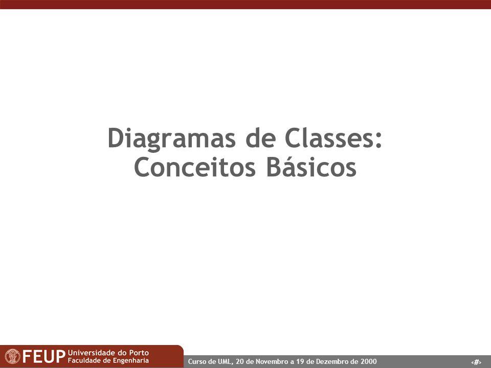 3 Curso de UML, 20 de Novembro a 19 de Dezembro de 2000 Diagramas de Classes: Conceitos Básicos