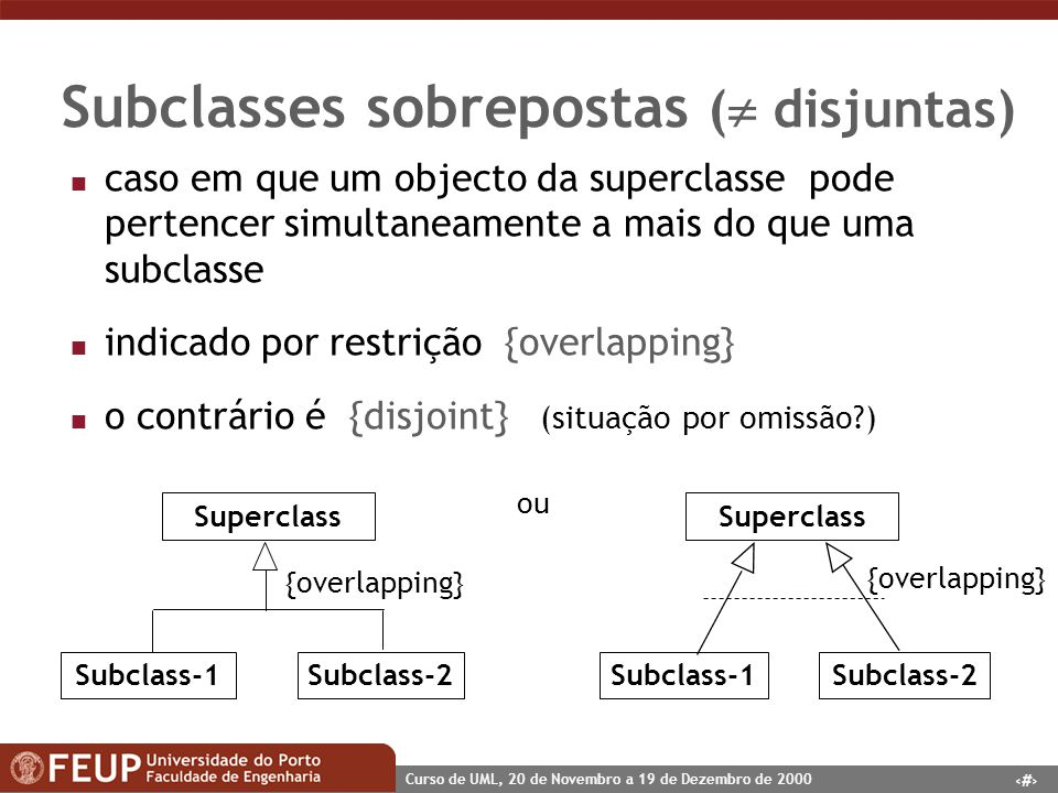 31 Curso de UML, 20 de Novembro a 19 de Dezembro de 2000 Subclasses sobrepostas ( disjuntas) n caso em que um objecto da superclasse pode pertencer si