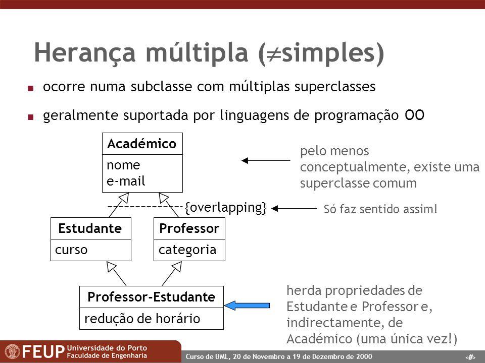 33 Curso de UML, 20 de Novembro a 19 de Dezembro de 2000 Herança múltipla ( simples) n ocorre numa subclasse com múltiplas superclasses n geralmente s
