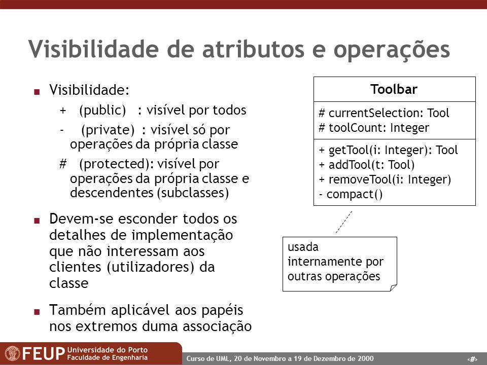 38 Curso de UML, 20 de Novembro a 19 de Dezembro de 2000 Visibilidade de atributos e operações n Visibilidade: + (public) : visível por todos - (priva