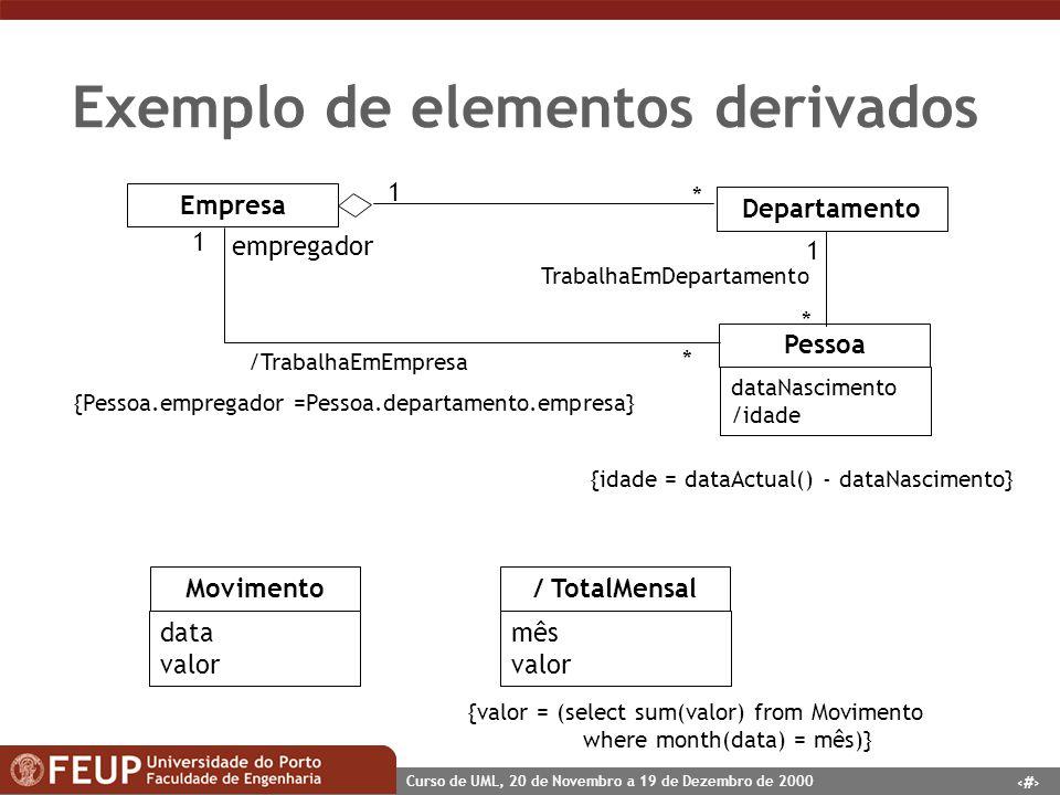 44 Curso de UML, 20 de Novembro a 19 de Dezembro de 2000 Exemplo de elementos derivados Movimento data valor / TotalMensal mês valor {valor = (select