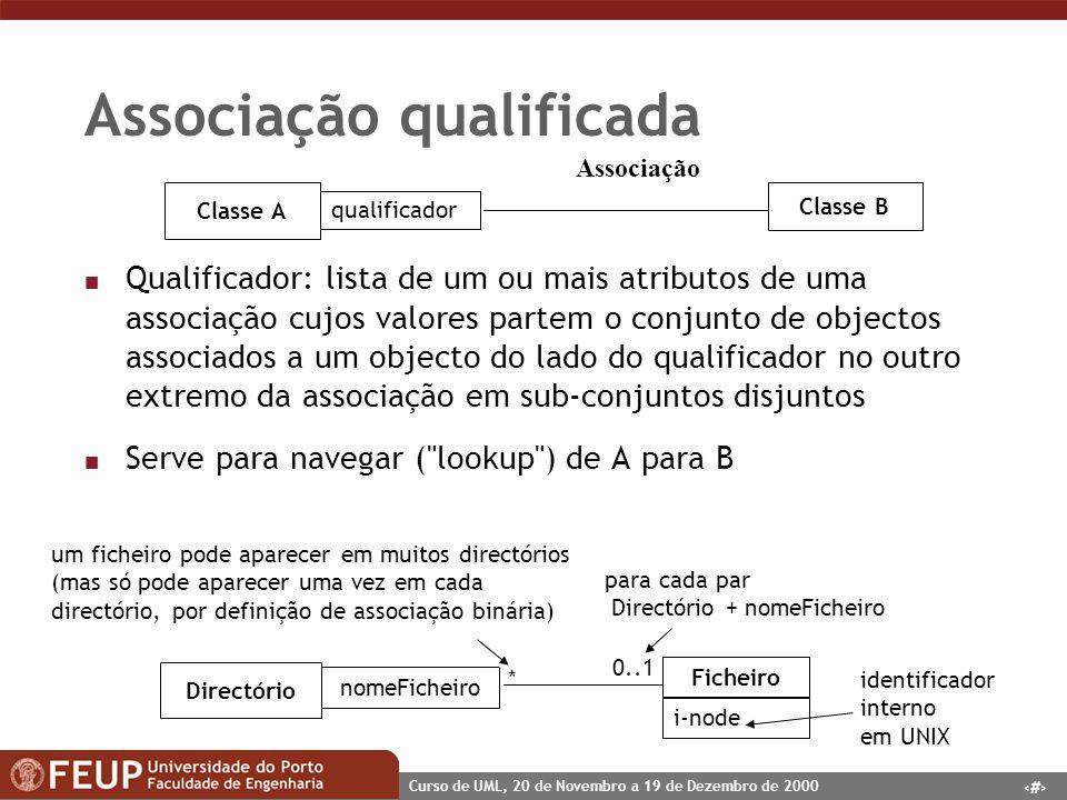 45 Curso de UML, 20 de Novembro a 19 de Dezembro de 2000 Associação qualificada n Qualificador: lista de um ou mais atributos de uma associação cujos