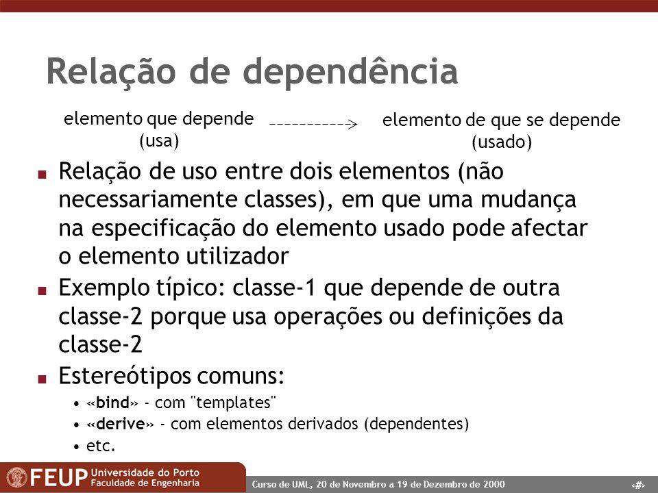 48 Curso de UML, 20 de Novembro a 19 de Dezembro de 2000 Relação de dependência n Relação de uso entre dois elementos (não necessariamente classes), e