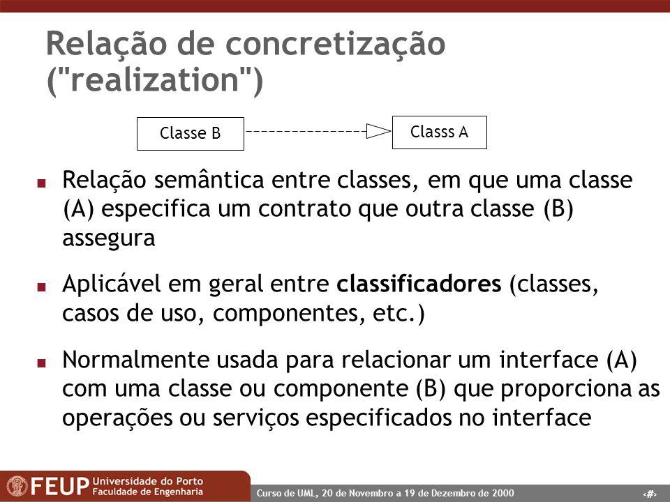 49 Curso de UML, 20 de Novembro a 19 de Dezembro de 2000 Relação de concretização (