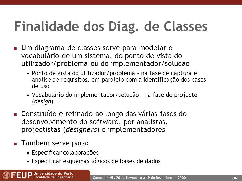 5 Curso de UML, 20 de Novembro a 19 de Dezembro de 2000 Finalidade dos Diag. de Classes n Um diagrama de classes serve para modelar o vocabulário de u