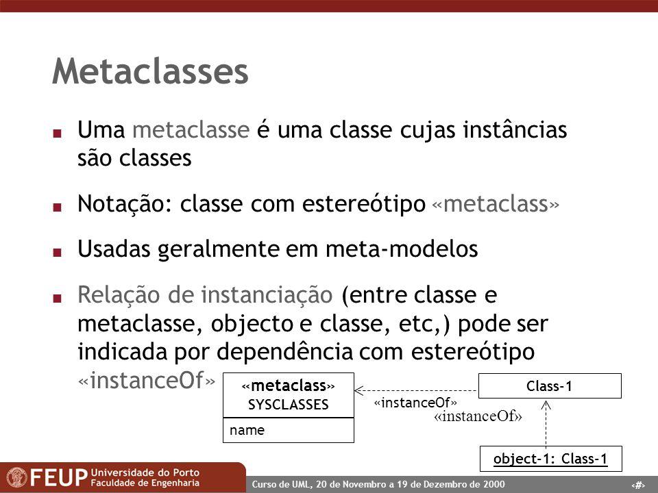51 Curso de UML, 20 de Novembro a 19 de Dezembro de 2000 Metaclasses n Uma metaclasse é uma classe cujas instâncias são classes n Notação: classe com