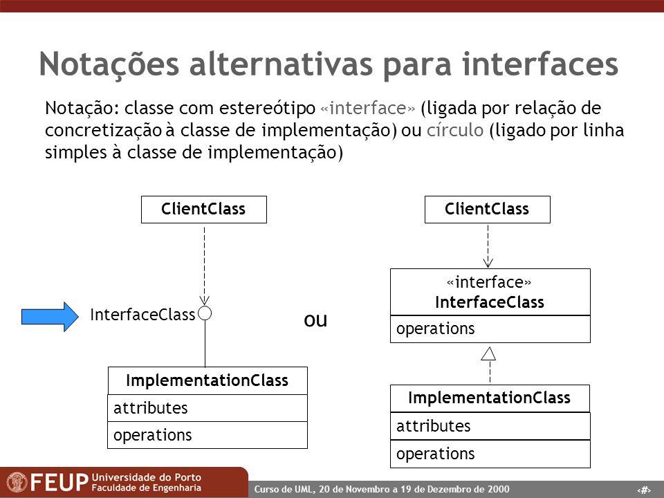 56 Curso de UML, 20 de Novembro a 19 de Dezembro de 2000 Notações alternativas para interfaces «interface» InterfaceClass ImplementationClass Interfac