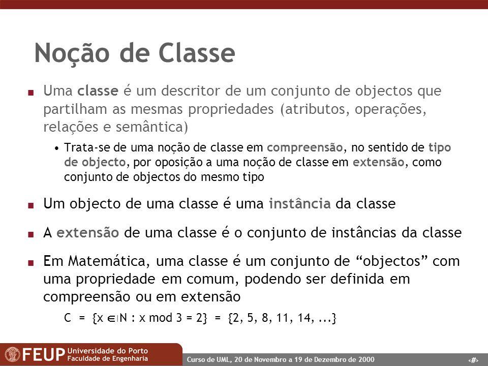 8 Curso de UML, 20 de Novembro a 19 de Dezembro de 2000 Noção de Classe n Uma classe é um descritor de um conjunto de objectos que partilham as mesmas