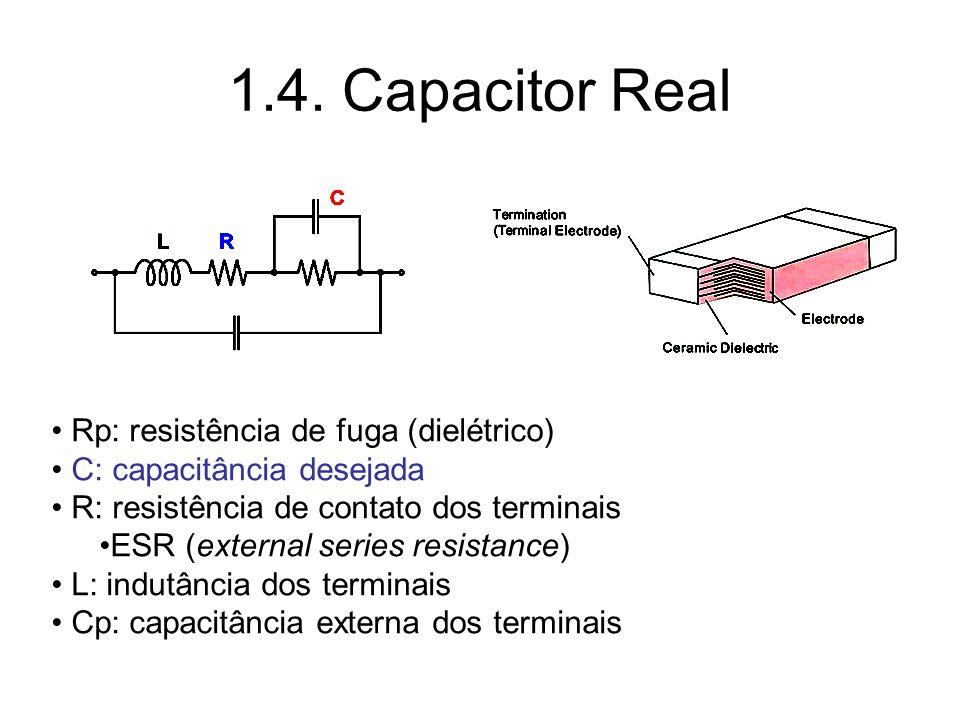 1.4. Capacitor Real Rp: resistência de fuga (dielétrico) C: capacitância desejada R: resistência de contato dos terminais ESR (external series resista