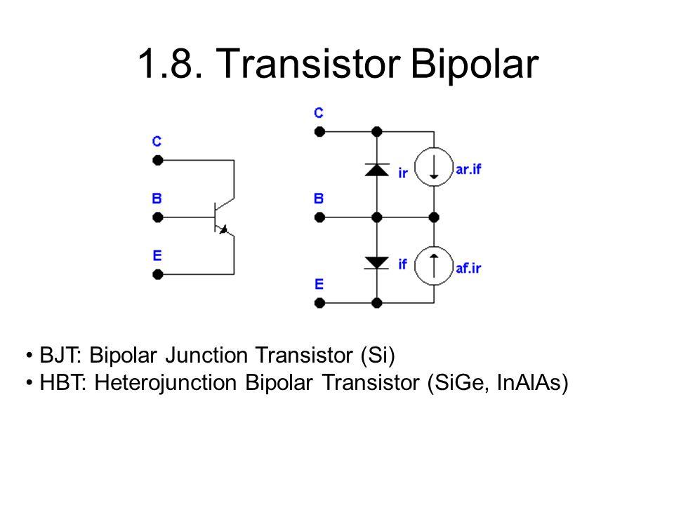 BJT: Bipolar Junction Transistor (Si) HBT: Heterojunction Bipolar Transistor (SiGe, InAlAs)