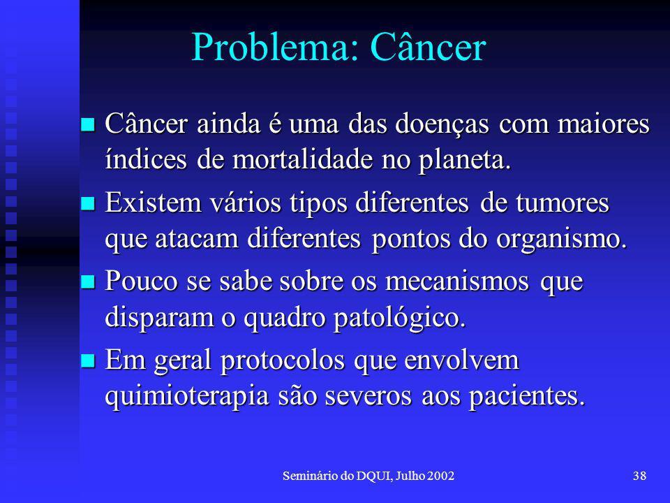 Seminário do DQUI, Julho 200238 Problema: Câncer Câncer ainda é uma das doenças com maiores índices de mortalidade no planeta. Câncer ainda é uma das