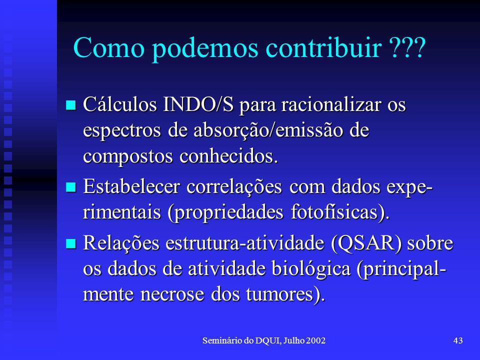 Seminário do DQUI, Julho 200243 Como podemos contribuir ??? Cálculos INDO/S para racionalizar os espectros de absorção/emissão de compostos conhecidos
