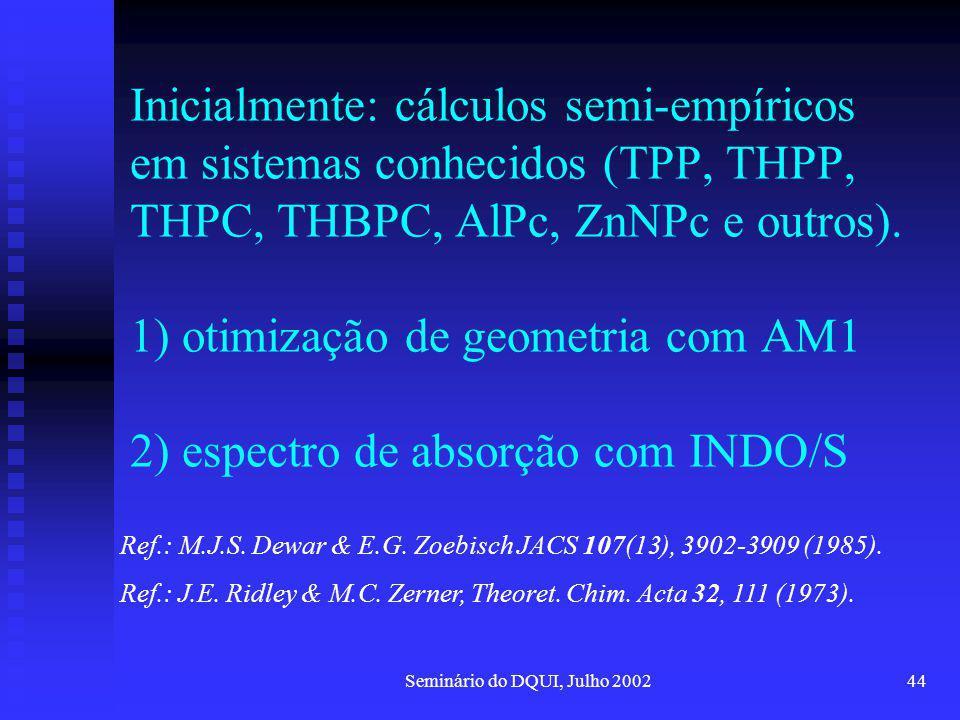 Seminário do DQUI, Julho 200244 Inicialmente: cálculos semi-empíricos em sistemas conhecidos (TPP, THPP, THPC, THBPC, AlPc, ZnNPc e outros). 1) otimiz