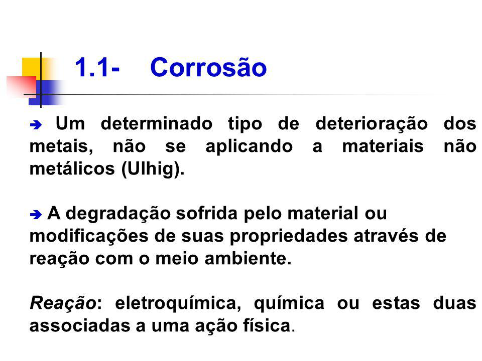 1.1- Corrosão Um determinado tipo de deterioração dos metais, não se aplicando a materiais não metálicos (Ulhig). A degradação sofrida pelo material o
