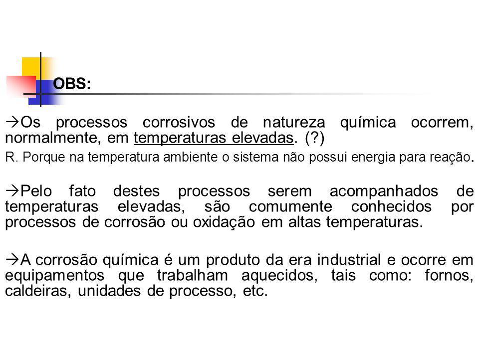 OBS: Os processos corrosivos de natureza química ocorrem, normalmente, em temperaturas elevadas. (?) R. Porque na temperatura ambiente o sistema não p