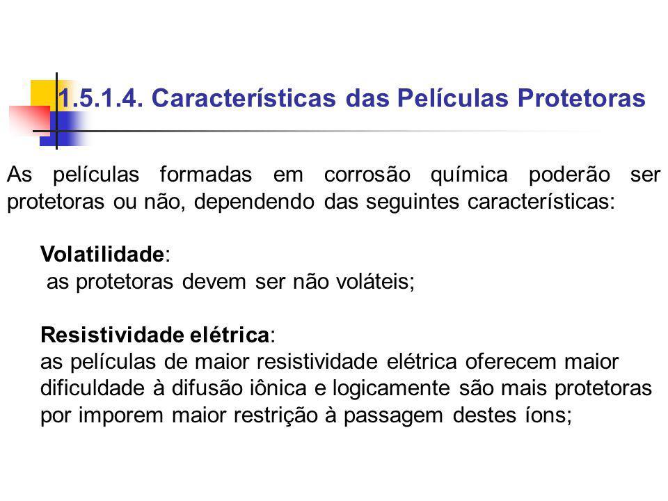 1.5.1.4. Características das Películas Protetoras As películas formadas em corrosão química poderão ser protetoras ou não, dependendo das seguintes ca