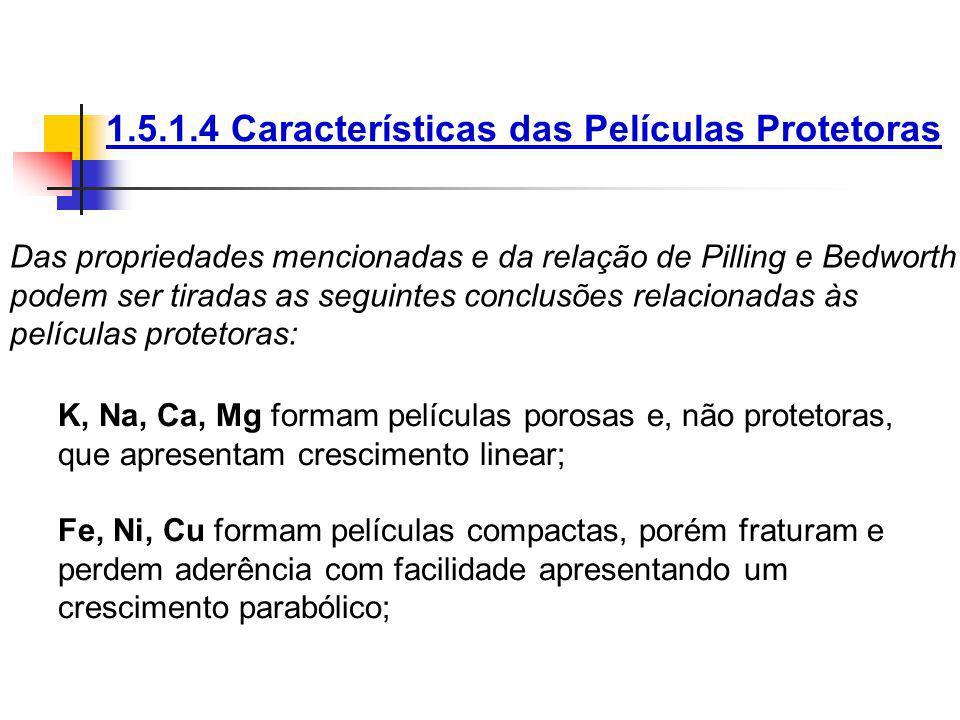 1.5.1.4 Características das Películas Protetoras Das propriedades mencionadas e da relação de Pilling e Bedworth podem ser tiradas as seguintes conclu