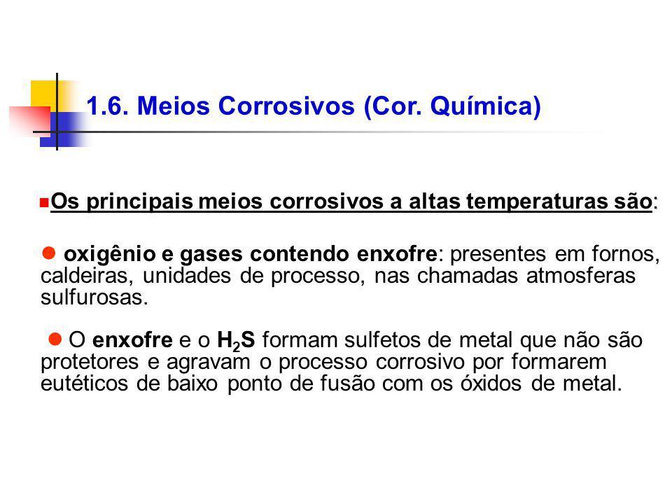 1.6. Meios Corrosivos (Cor. Química) oxigênio e gases contendo enxofre: presentes em fornos, caldeiras, unidades de processo, nas chamadas atmosferas