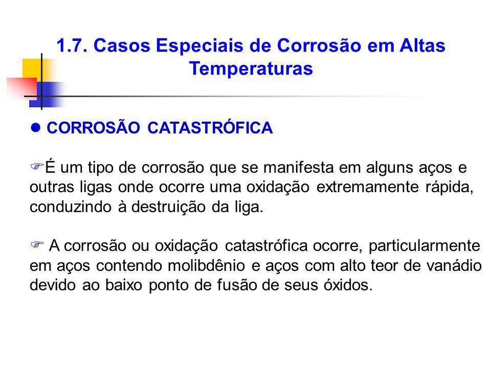 1.7. Casos Especiais de Corrosão em Altas Temperaturas CORROSÃO CATASTRÓFICA É um tipo de corrosão que se manifesta em alguns aços e outras ligas onde