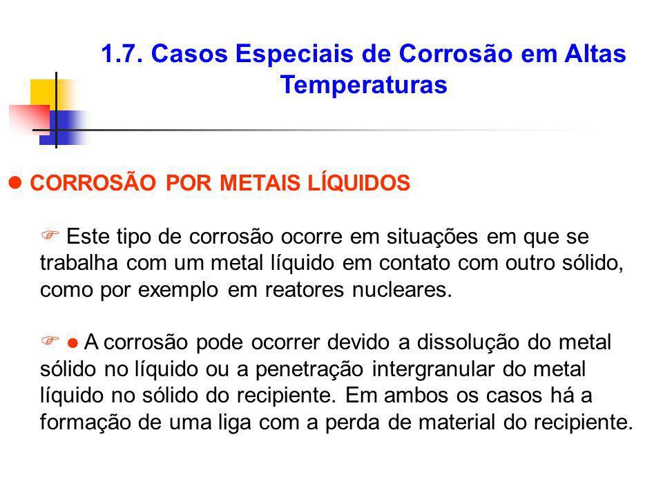 1.7. Casos Especiais de Corrosão em Altas Temperaturas CORROSÃO POR METAIS LÍQUIDOS Este tipo de corrosão ocorre em situações em que se trabalha com u