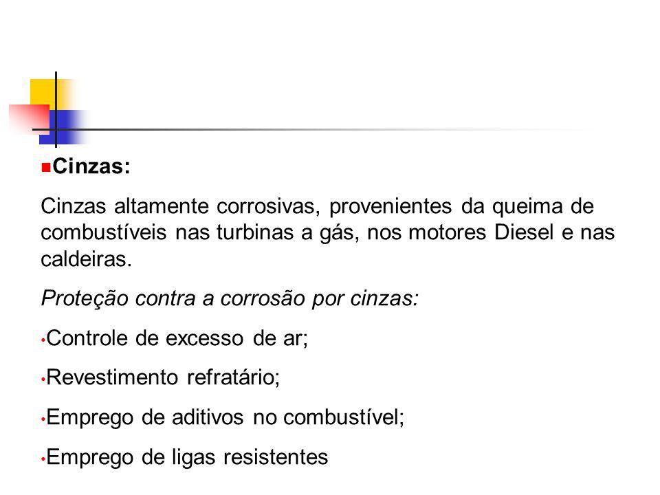 Cinzas: Cinzas altamente corrosivas, provenientes da queima de combustíveis nas turbinas a gás, nos motores Diesel e nas caldeiras. Proteção contra a