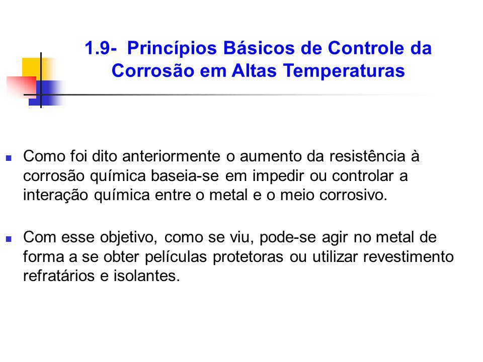Como foi dito anteriormente o aumento da resistência à corrosão química baseia-se em impedir ou controlar a interação química entre o metal e o meio c