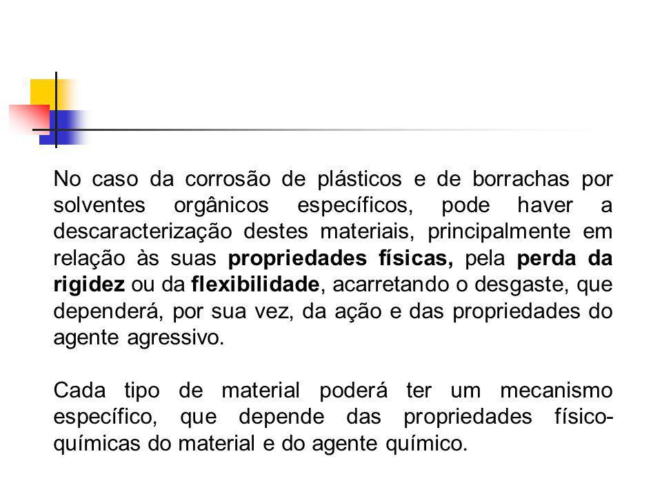 No caso da corrosão de plásticos e de borrachas por solventes orgânicos específicos, pode haver a descaracterização destes materiais, principalmente e