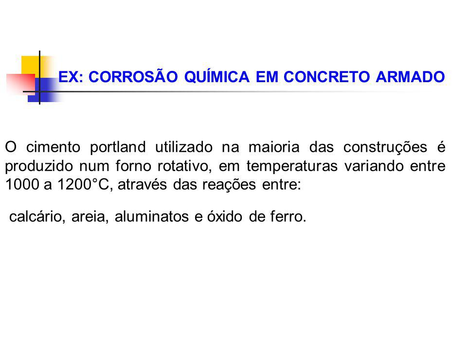 EX: CORROSÃO QUÍMICA EM CONCRETO ARMADO O cimento portland utilizado na maioria das construções é produzido num forno rotativo, em temperaturas varian