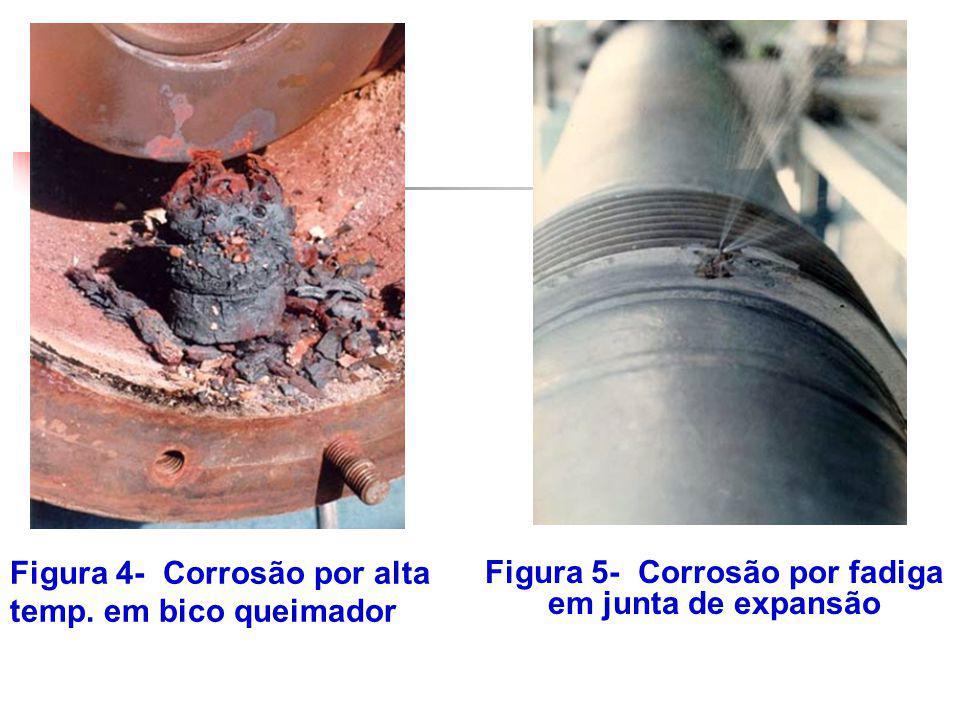 Figura 4- Corrosão por alta temp. em bico queimador Figura 5- Corrosão por fadiga em junta de expansão