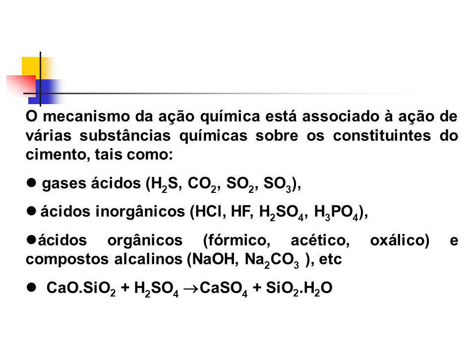 O mecanismo da ação química está associado à ação de várias substâncias químicas sobre os constituintes do cimento, tais como: gases ácidos (H 2 S, CO