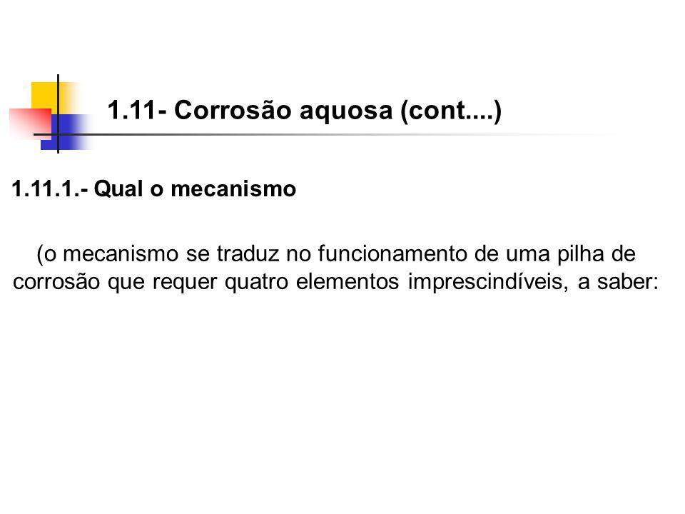 1.11- Corrosão aquosa (cont....) (o mecanismo se traduz no funcionamento de uma pilha de corrosão que requer quatro elementos imprescindíveis, a saber