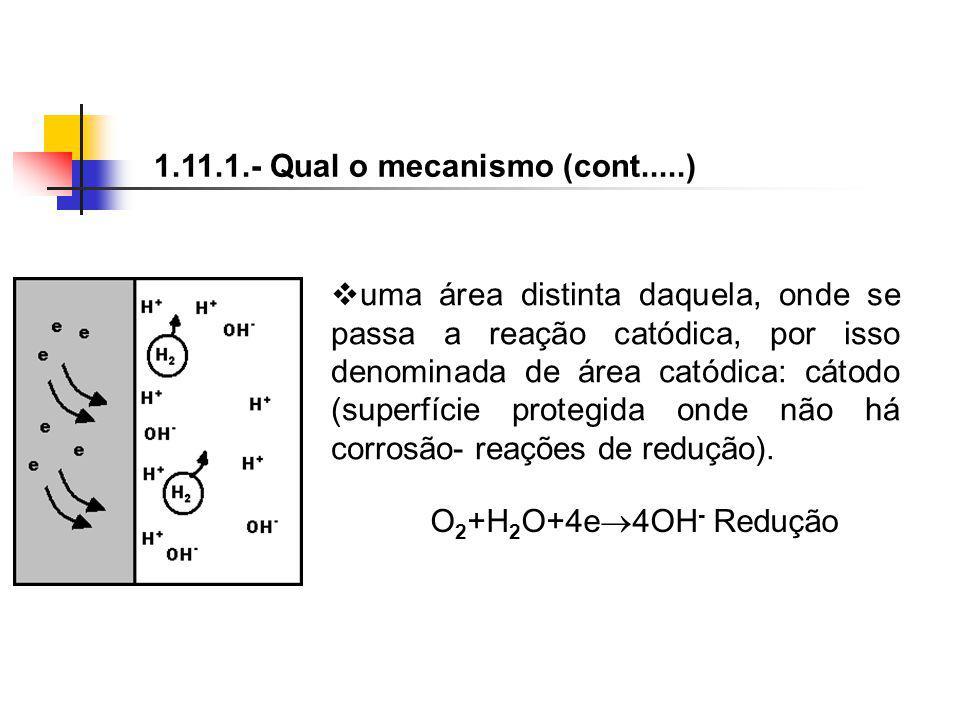 uma área distinta daquela, onde se passa a reação catódica, por isso denominada de área catódica: cátodo (superfície protegida onde não há corrosão- r