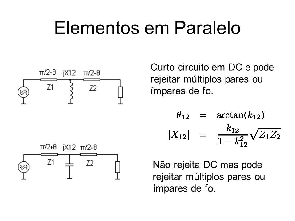 Elementos em Paralelo Curto-circuito em DC e pode rejeitar múltiplos pares ou ímpares de fo. Não rejeita DC mas pode rejeitar múltiplos pares ou ímpar