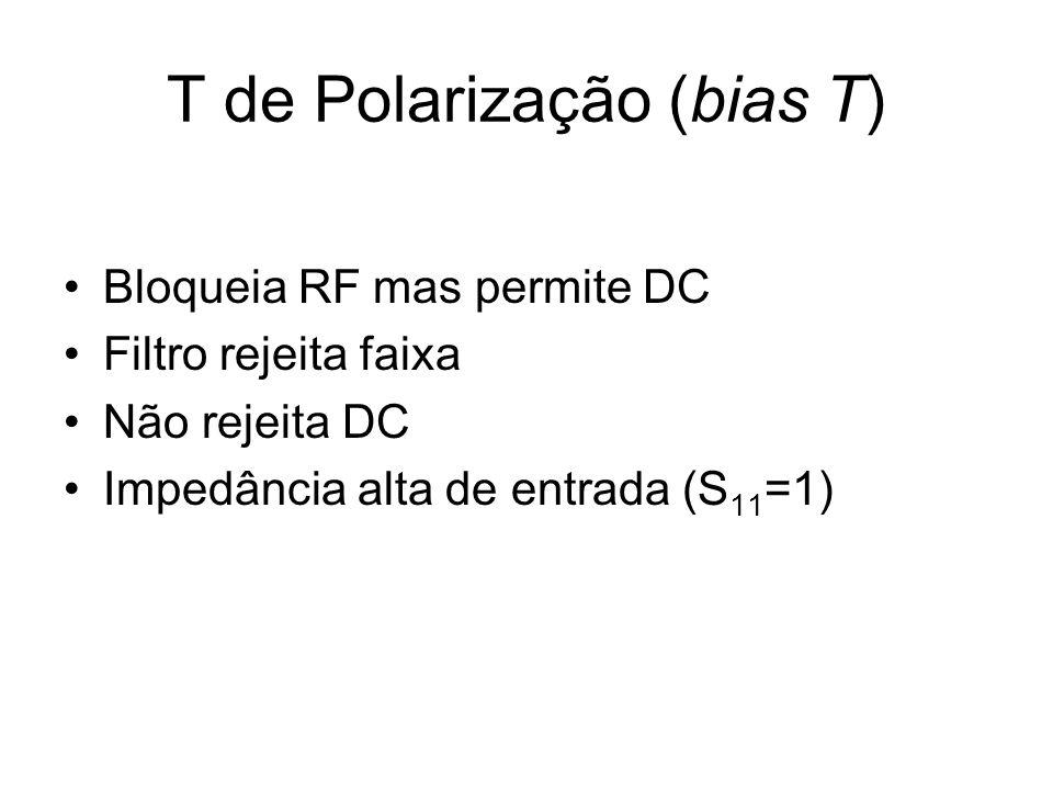 T de Polarização (bias T) Bloqueia RF mas permite DC Filtro rejeita faixa Não rejeita DC Impedância alta de entrada (S 11 =1)