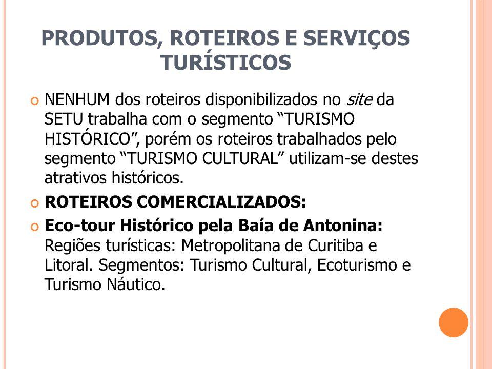 PRODUTOS, ROTEIROS E SERVIÇOS TURÍSTICOS NENHUM dos roteiros disponibilizados no site da SETU trabalha com o segmento TURISMO HISTÓRICO, porém os rote
